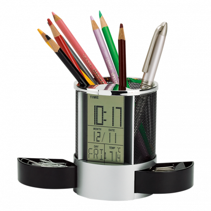 clock organiser with pen cup