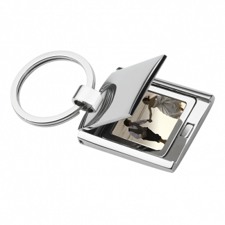 keychain with photo frame silver