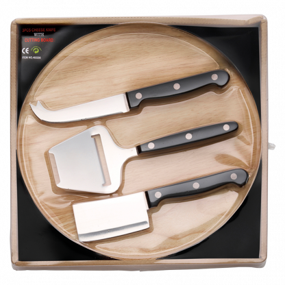 wooden cheese board with with 3 knives